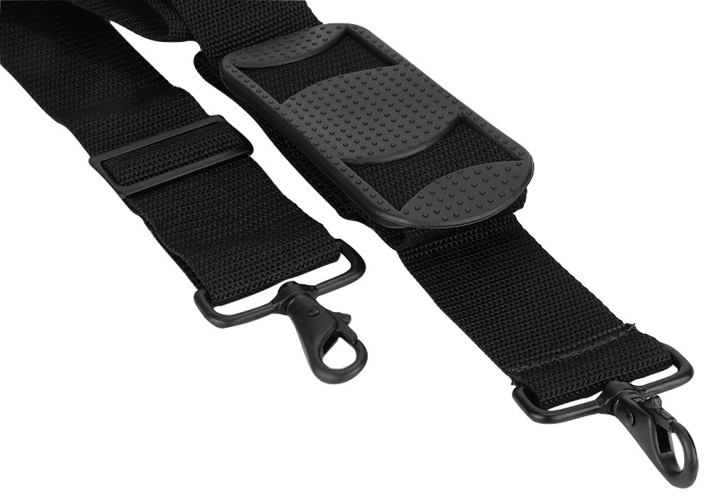 Made in USA 2''W x 60''L Poly Web Replacement Shoulder Luggage Travel Bag Strap Black Metal Hardware