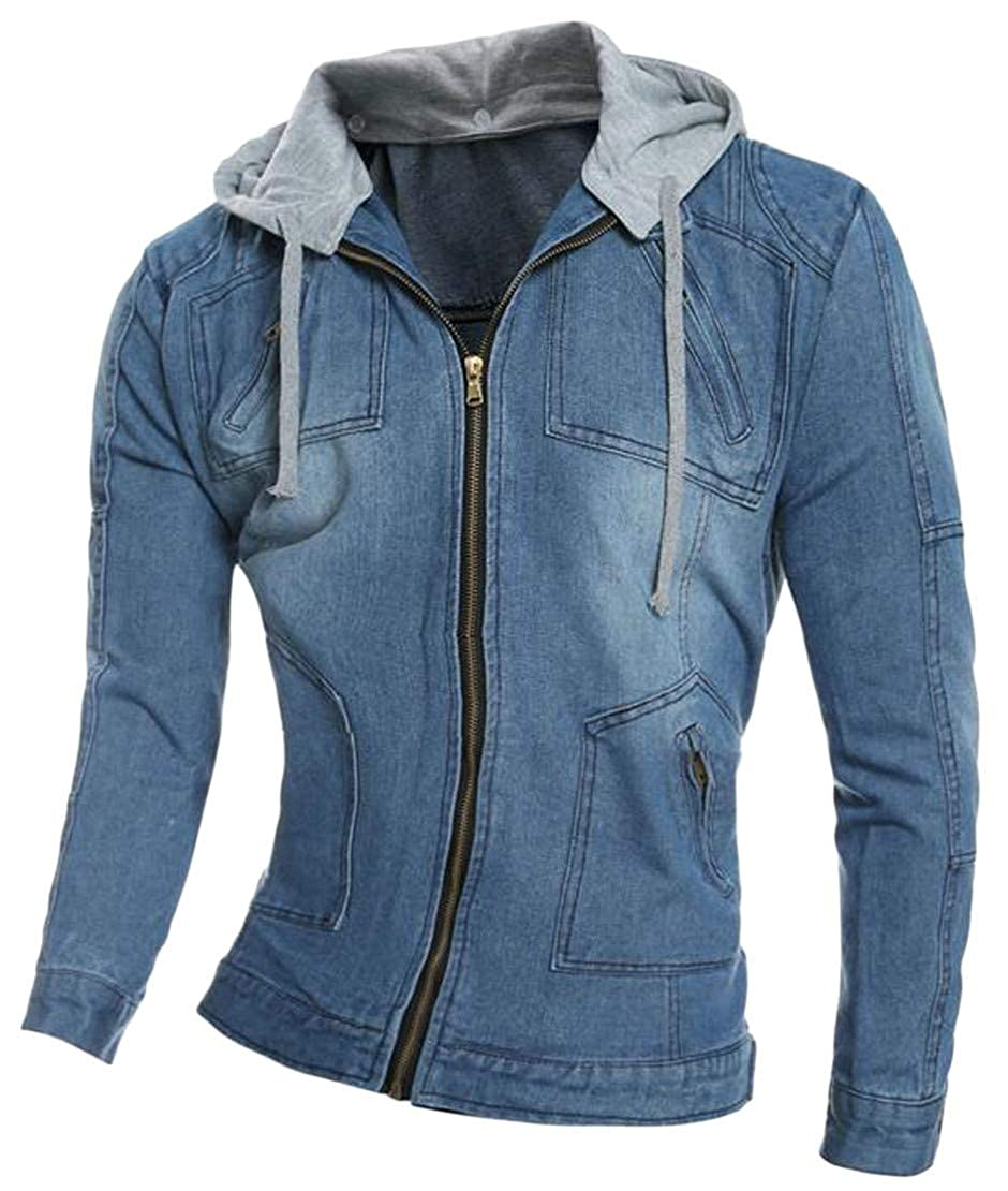 Hajotrawa Men's Zip Hooded Washed Drawstring Classic Pocket Coat Denim Jackets