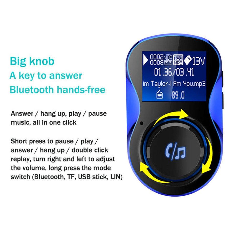 Colmkley Bluetooth カーFMトランスミッター オーディオアダプター レシーバー ワイヤレス ハンズフリー 電圧計 カーキット TFカード USB カーチャージャー   B07QTFTG3P