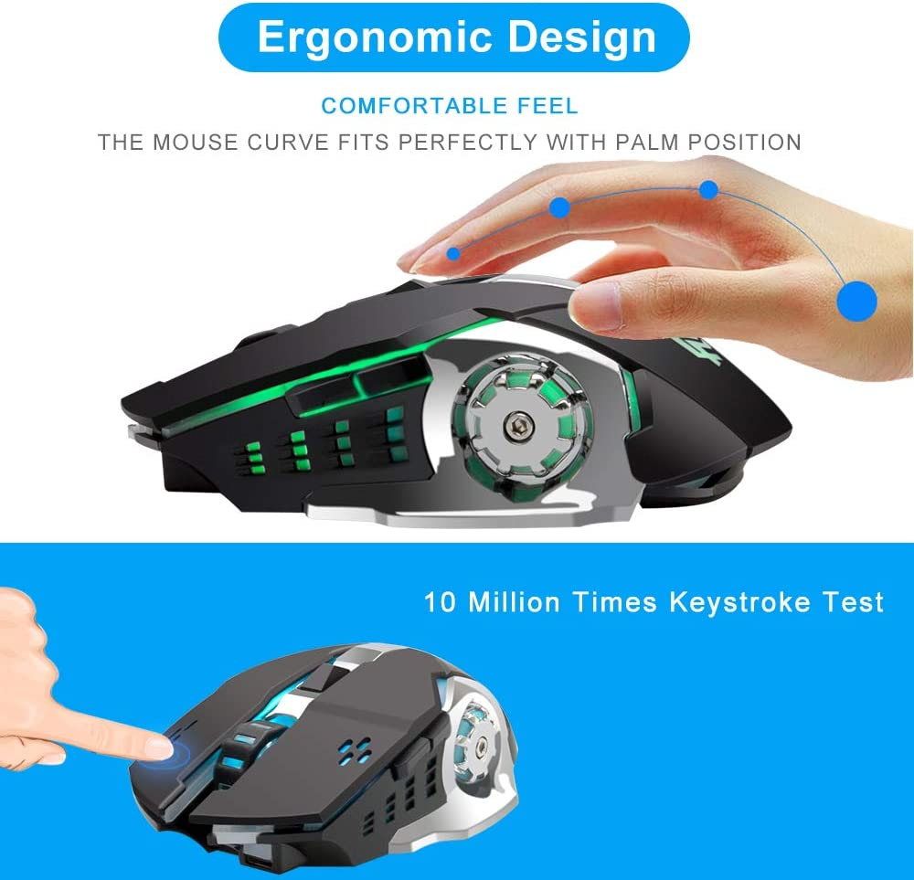 BINGFEI Wireless Silent Mause Rechargeable Computer Gaming Mice RGB Light Optical 2.4Ghz Ergonomic Game Mouse for Laptop Notebook,Black