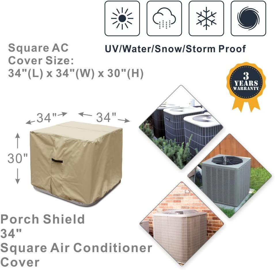 Porch Shield Waterproof 600D Heavy Duty Patio Round Air Conditioner Cover 34D inch Black