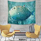 "Zeronal Tapestry Blue fish with Red Little House Lovely Psychedelic Tapestries Wall Hanging Wall Art Wall Decor Beach Tapestry for Bedroom Living Room Dorm(52""59"" 59""79"")"