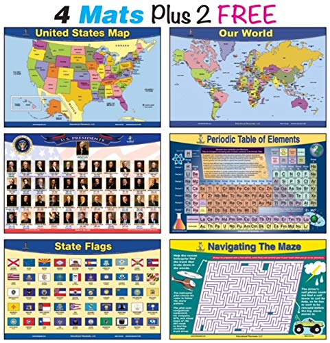 Laminated Explorer Map - brainymats Educational Kids Placemats (Explorer) Includes 4 mats Plus 2 Free. This Bundle Includes USA Map, World Map, US Presidents, Periodic Table Plus 2 Free State Flags and Maze