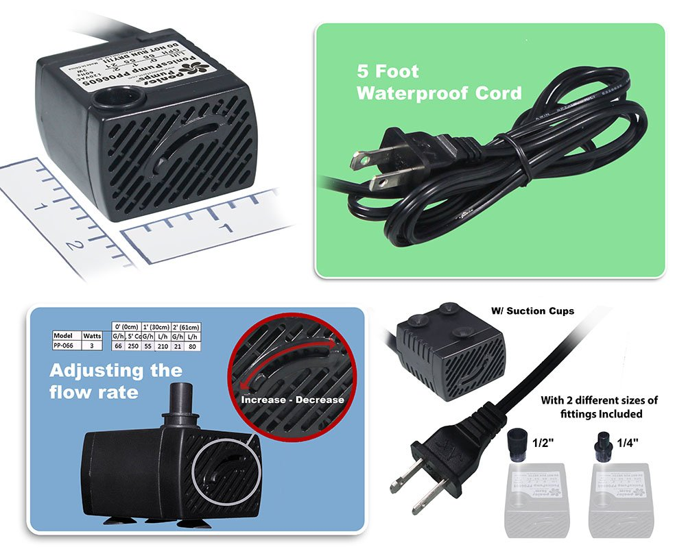 3W.. Aquariums /& more PonicsPump PP06605: 66 GPH Submersible Pump with 5 Cord for Quality Indoor//Outdoor//Table-Top Fountain Pump for Fountains Statuary PonicsPumps PP06605 : X0009TF8DH Comes with 1 year limited warranty