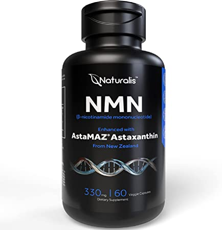Naturalis NMN 9900 (330mg Per Serving) | Enhanced with New Zealand Astaxanthin | 100% Vegan, Non-GMO, Soy & Gluten Free - 60 Veggie Capsules (1 Month Supply)
