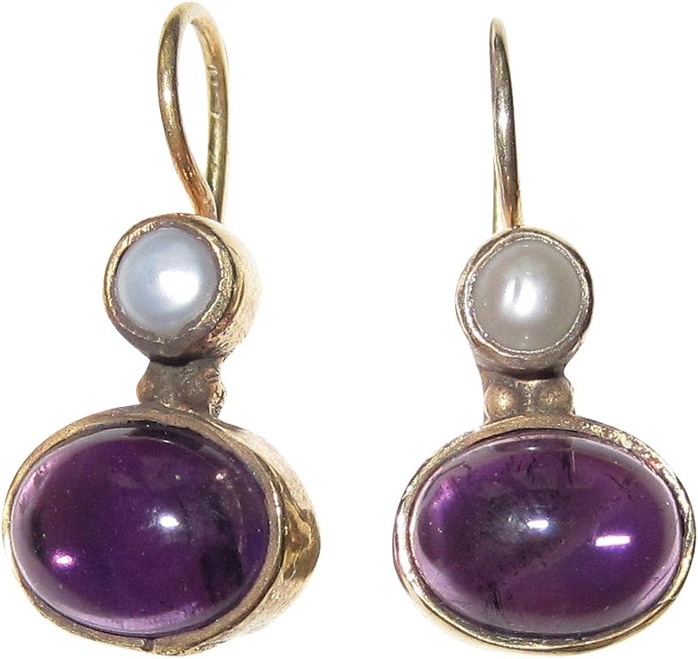 Pequeños pendientes de amatista púrpura perla de agua dulce colgante con cierre de plata chapada en oro, hecho a mano, retro, vintage, único, italiano, ligero y elegante