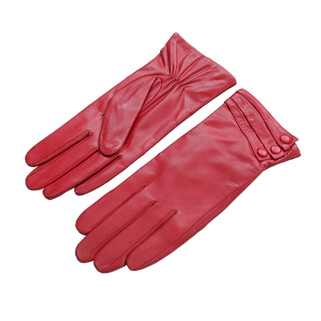 Nappaglo Nappa Leather Gloves Warm Lining Winter Button Decoration Imported Leather Lambskin Gloves for Women (L, Red)