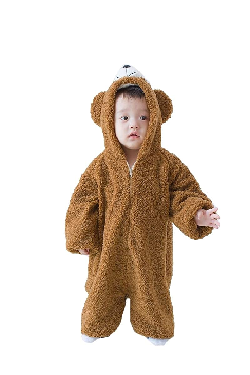 YUNY Kids Baby Boys Girls Fall Winter Warm Zip Up Loose Romper Outfits Coffee 80