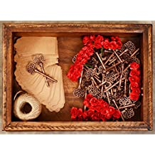 Wedding Decoration, Wedding Favors for Guests Party Favors Rustic Vintage Key Bottle Opener with Escort Card Tag, Roses and Twine 50 Pcs