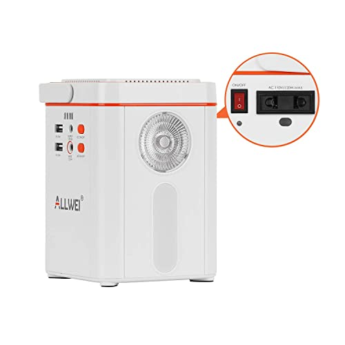 ALLWEI Portable Power Station 135Wh Lithium Backup Battery Pack Power Generator 110V 120W Solar Generator with AC Outlet USB DC Supply for Outdoors Camping Travel Fishing Hunting Emergency White