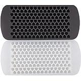 Honbay 2pcs Transparent White and Dark Gray 150 Tray Silicone Fronzen Mini Heart Ice Mold Tray