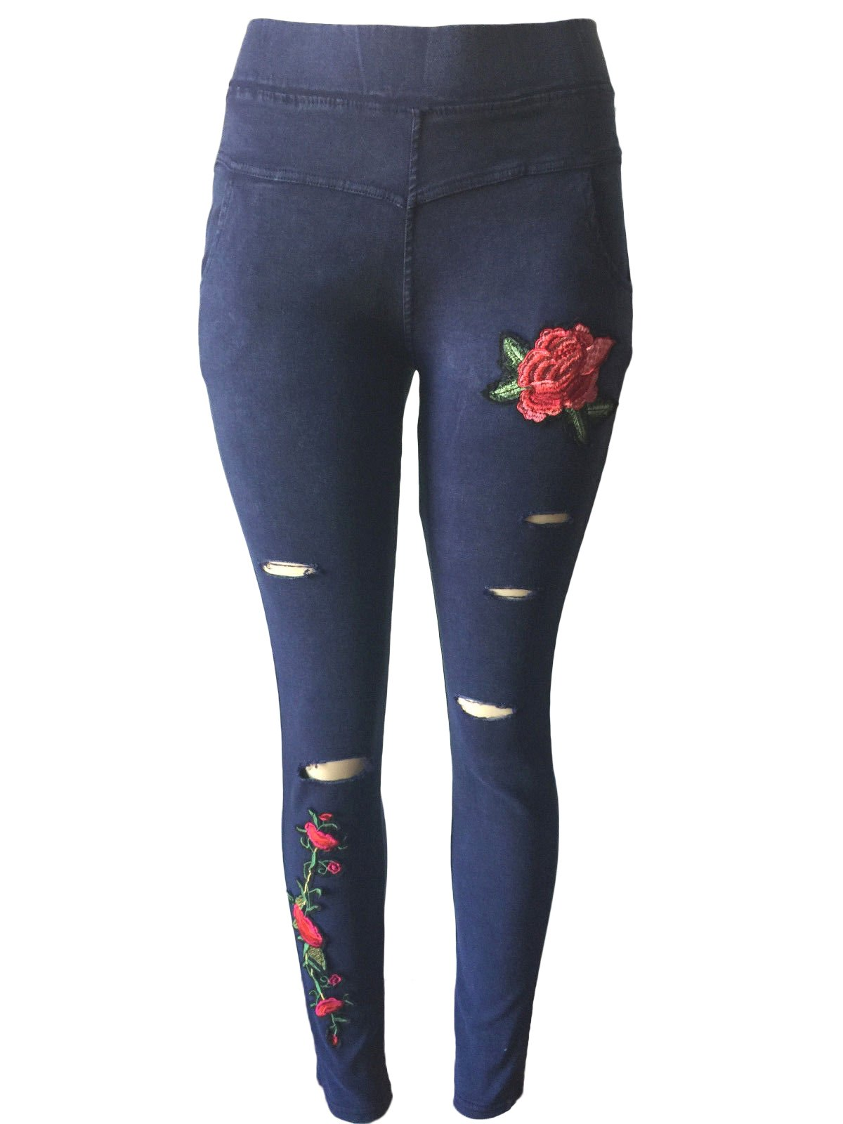 NY GOLDEN FASHION Women High Waist Floral Embroidered Ripped Jeans Jeggings Super Skinny Pants (L/XL, Navy)
