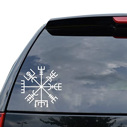 Viking Rune Vegvisir Talisman Symbol Decal Sticker Car Truck Motorcycle Window Ipad Laptop Wall Decor Size 05 Inch 13 Cm Tall Color Gloss