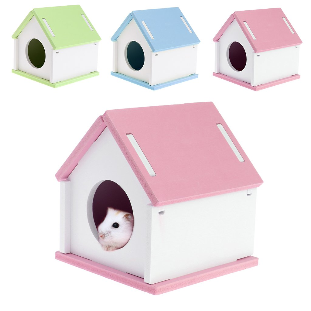 Qisuw Pet House-Hamster House Cage Wood Bed Small Animal Pet Guinea Pig Squirrel Gerbil Nest Toy (Pink)