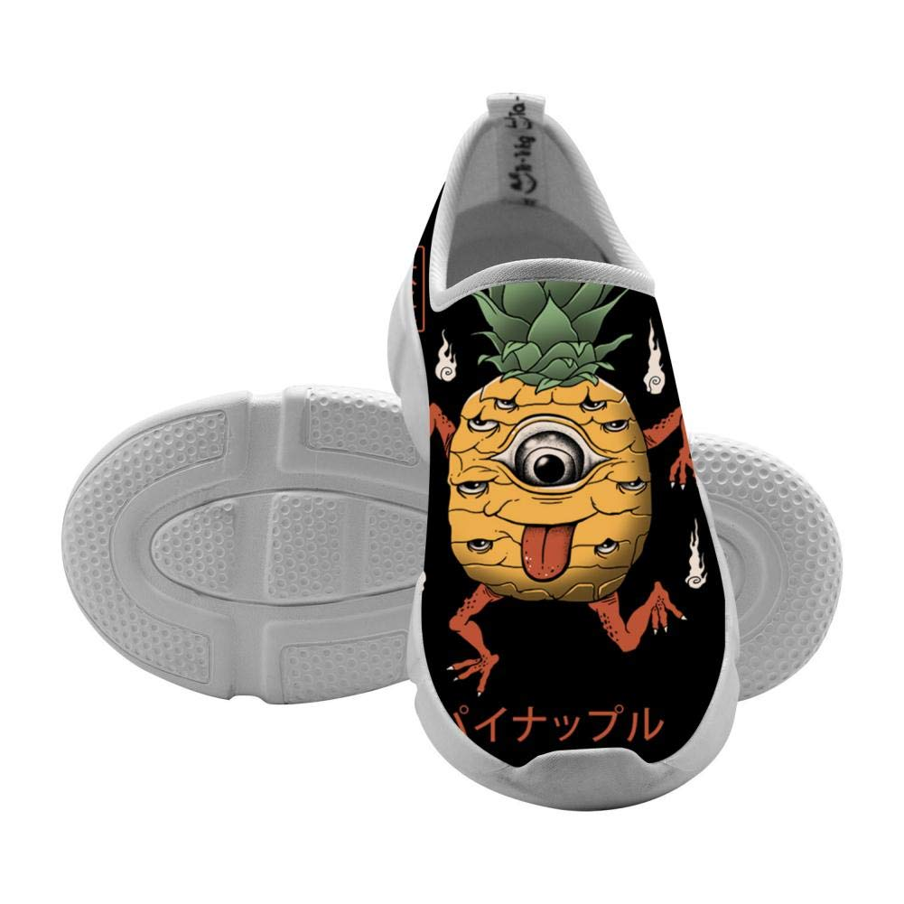 Yokai PIneapple 3D Pattern Printed Lightweight Breathable Casual Sports Shoes Running Sneakers Canvas for Girls
