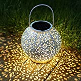 TAKE ME Solar Lantern Outdoor,Lantern Garden Hanging Lights Waterproof 10 Lumens Warm White LED Lamp for Patio,Outside or Table