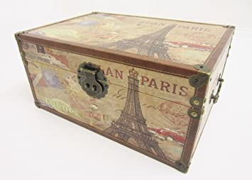 Shabby Chic Paris Vintage Design Storage Chest Trunk Toy Box