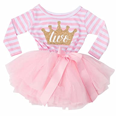 Little Secrets 2nd Birthday Girls Stripe Pink Tutu Party Dress 2 Year Old Amazoncouk Clothing
