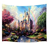 Teen Girls Collection Tapestry By JAWO the Fairy Tale Princess Castle in Fantasy Forest Landscape Artwork Print Wall Art Hanging for Bedroom Living Room Dorm 71X60Inches Wall Blankets