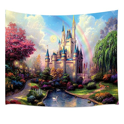 Teen Girls Collection Tapestry By JAWO the Fairy Tale Princess Castle in Fantasy Forest Landscape Artwork Print Wall Art Hanging for Bedroom Living Room Dorm 71X60Inches Wall Blankets by JAWO
