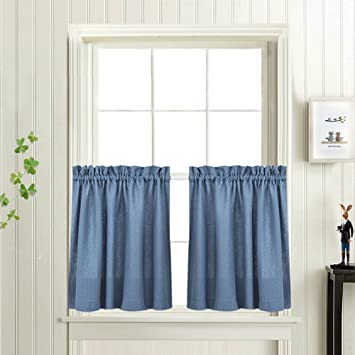 Amazon.com: 36 Inch Tiers Curtains Rod Pocket Kitchen Curtains ...