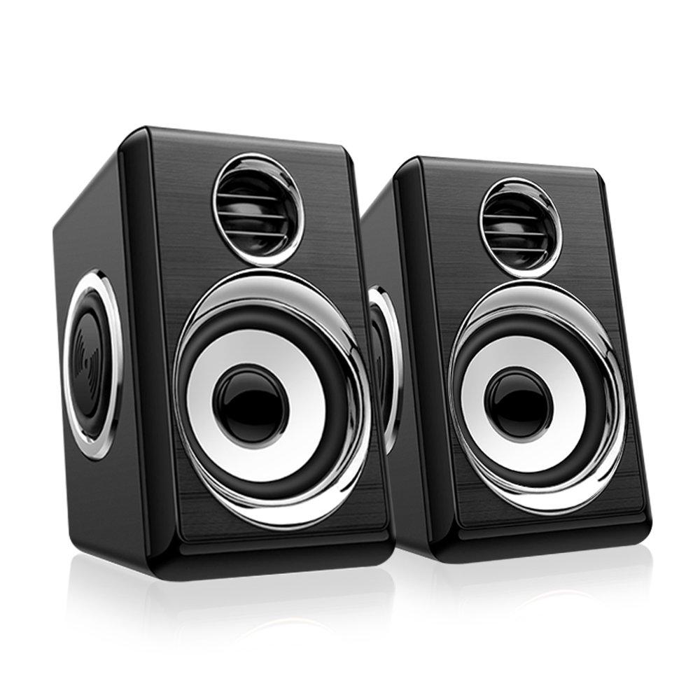 Computer Speakers BeBomBasics SP10S USB Multimedia Audio for Laptop PC or TV,Four Loudspeaker Diaphragm(BK+Silver) by BeBom
