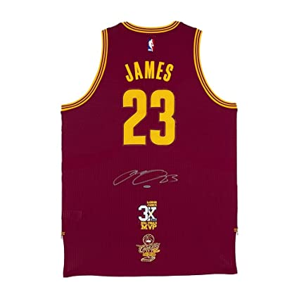 be4d21f37ec2 Image Unavailable. Image not available for. Color  LeBron James Autographed  Cleveland Cavaliers Authentic Adidas Wine Jersey ...