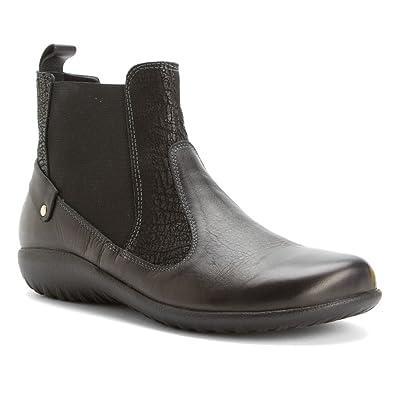 Naot Footwear Women's Konini Black Raven Leather/Black Crackle Leather/Black  Raven Leather Boot