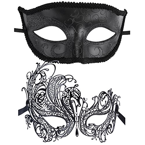 Coxeer Couple's Venetian Masquerade Mask Set Luxury Style Princess Party Mask