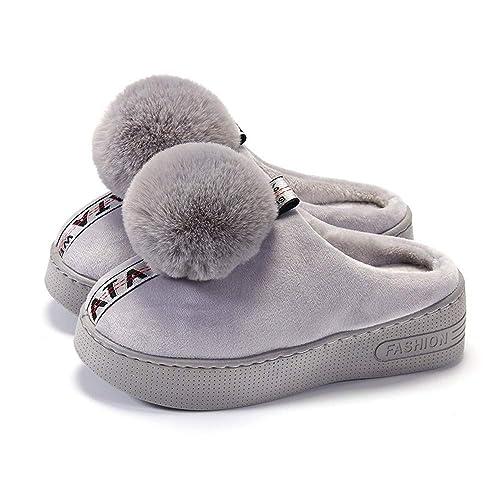 Zapatillas de algodón caseras de tacón Alto de otoño para Mujer de Gama Alta Impermeable de Escritorio Engrosamiento más Zapatos de Plataforma de Terciopelo ...