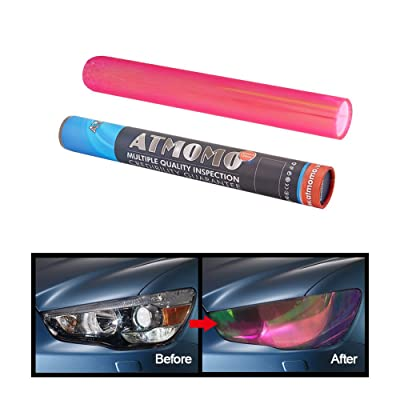 ATMOMO Pink 12 by 48 inches Self Adhesive Shiny Chameleon Headlights Films,Film Sheet Sticker,Tint Vinyl Film: Automotive
