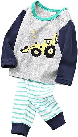 MOLYHUA Conjunto de pijama de manga larga para bebé, pantalones a rayas, polainas, sudadera, unisex, ropa de cumpleaños