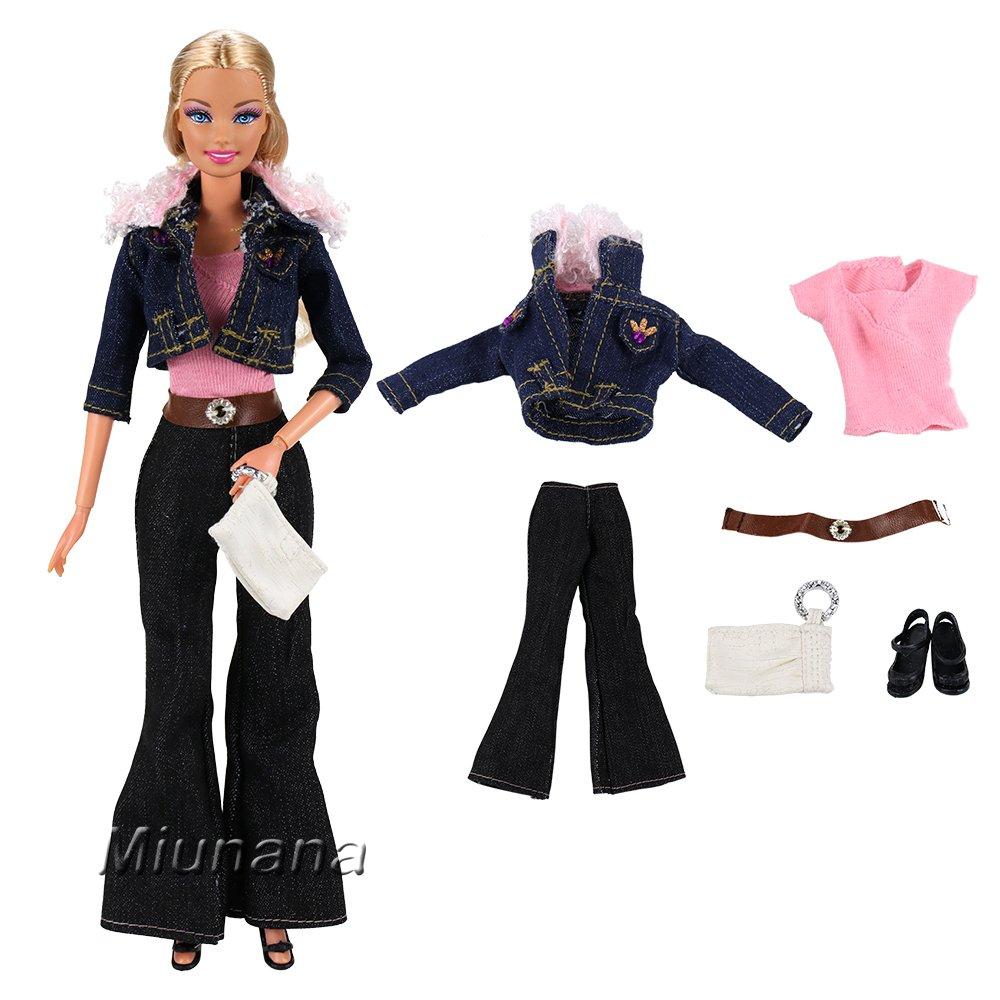 Amazon.es: Miunana 3x Ropas Fashion con Abrigo Camiseta Pantalones Zapatos Bolso Accesorios Aleatorios como Regalo para Barbie Muñeca Doll: Juguetes y ...
