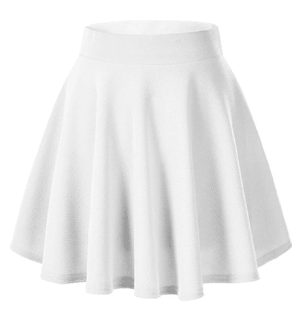 Qissy® Women's Versatile Stretchy Plain Casual Mini Flared Skater Skirt