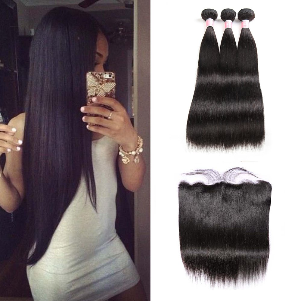 "Brazilian Straight Hair With Closure Human Hair Unprocessed Straight With Closure (16 18 20+14"" Frontal) by Doheroine"