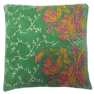 Cojín verde del vintage de la cubierta de la impresión floral hecho a mano Kantha Algodón Almohada Arte Caja de regalo de la India de 16 pulgadas