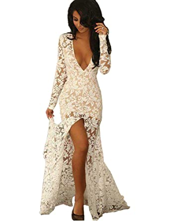 Aorme Long Sleeves V-Neck Split-Front Lace Evening Dress Prom Gown ...