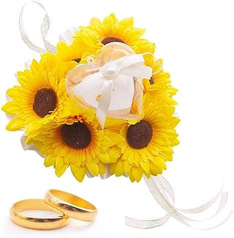 sunflower bearer box box for rings wood ring box wedding ring holder Rustic Wedding sunflower ring box rustic wedding box ring pillow