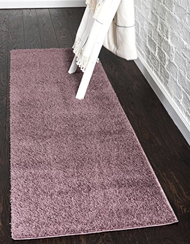 (Unique Loom Serenity Solid Shag Collection Super Soft Micro Polyester Mauve Home Décor Runner Rug (2' x 7'))