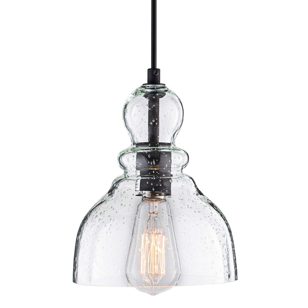 Donglaimei Industrial Mini Pendant Lighting with Handblown Clear Seeded Glass Shade, Adjustable Edison Farmhouse Kitchen Lamp for Kitchen Island, Restaurants, Hotels and Shops, 1-Pack