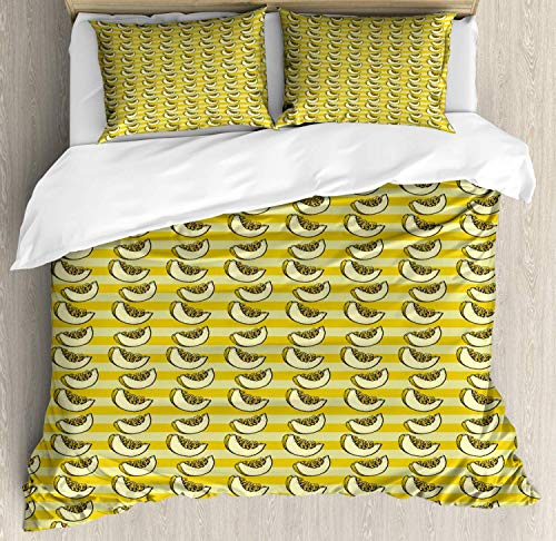 Melon Duvet Cover Set Queen Size,Continuous Sliced Piece Of Fruit On Stripes Pattern,Bedding Cover Set 100% Cotton Boys Girls For Children Teens,Pale Earth Yellow Avocado Green Pale Yellow