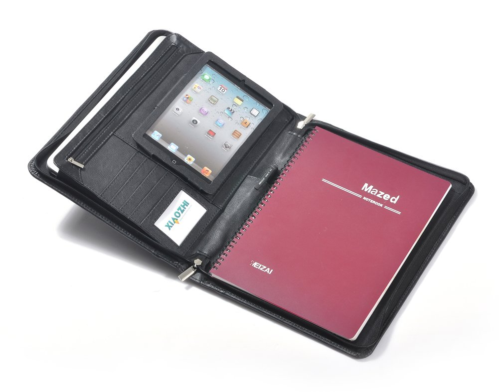50%OFF Genuine Leather Padfolio for iPad Mini 4, 11-inch MacBook and Paper, Black