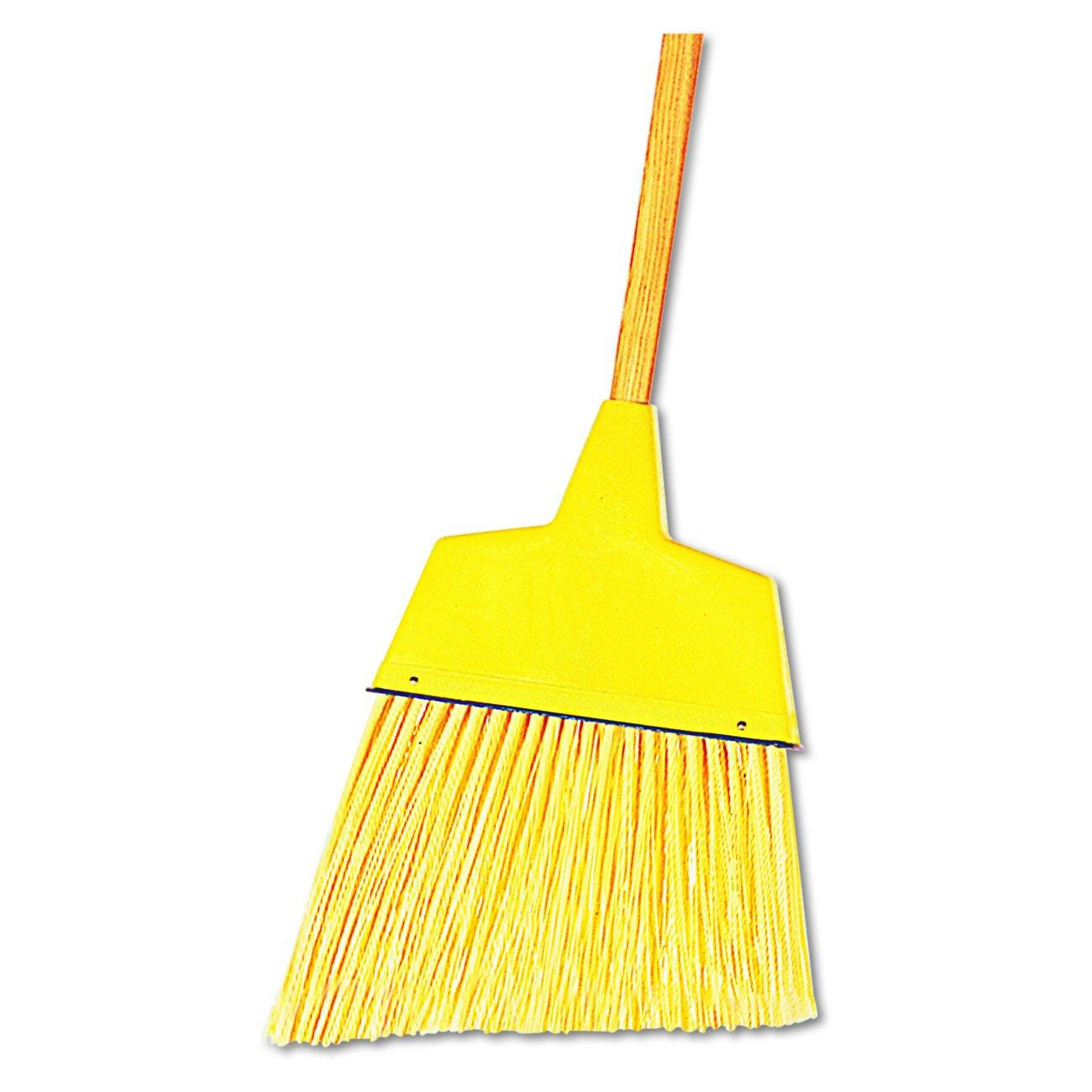 Boardwalk 932A Angler Broom, Plastic Bristles, 42'' Wood Handle, Yellow (Pack of 12)