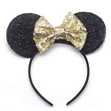 Disney Ears with Gold Sequin Bow