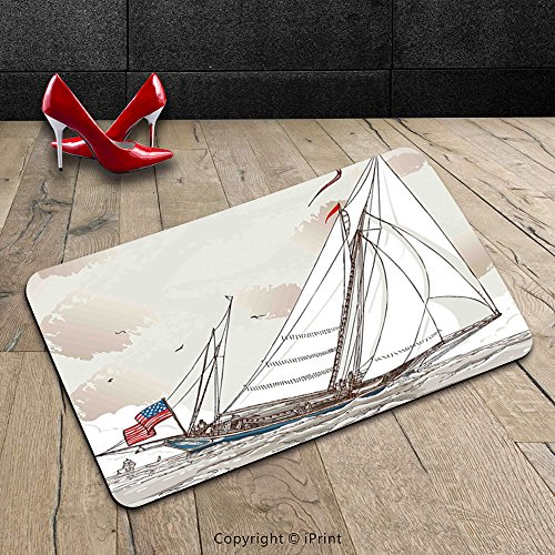 Custom Automobile-washable Door Mat Vintage Illustration of a Retro View of Antique American Yacht with Flags Ocean Light Grey Tan White Indoor/Alfresco Doormat Mat Rug Carpet