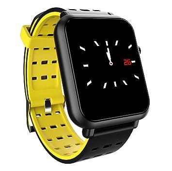 PINCHU Q8 Reloj Inteligente DE 1,2 Pulgadas De Presión Arterial Frecuencia Cardíaca Pulsera Inteligente Sleep Fitness para Teléfonos Android iOS,Yellow: ...