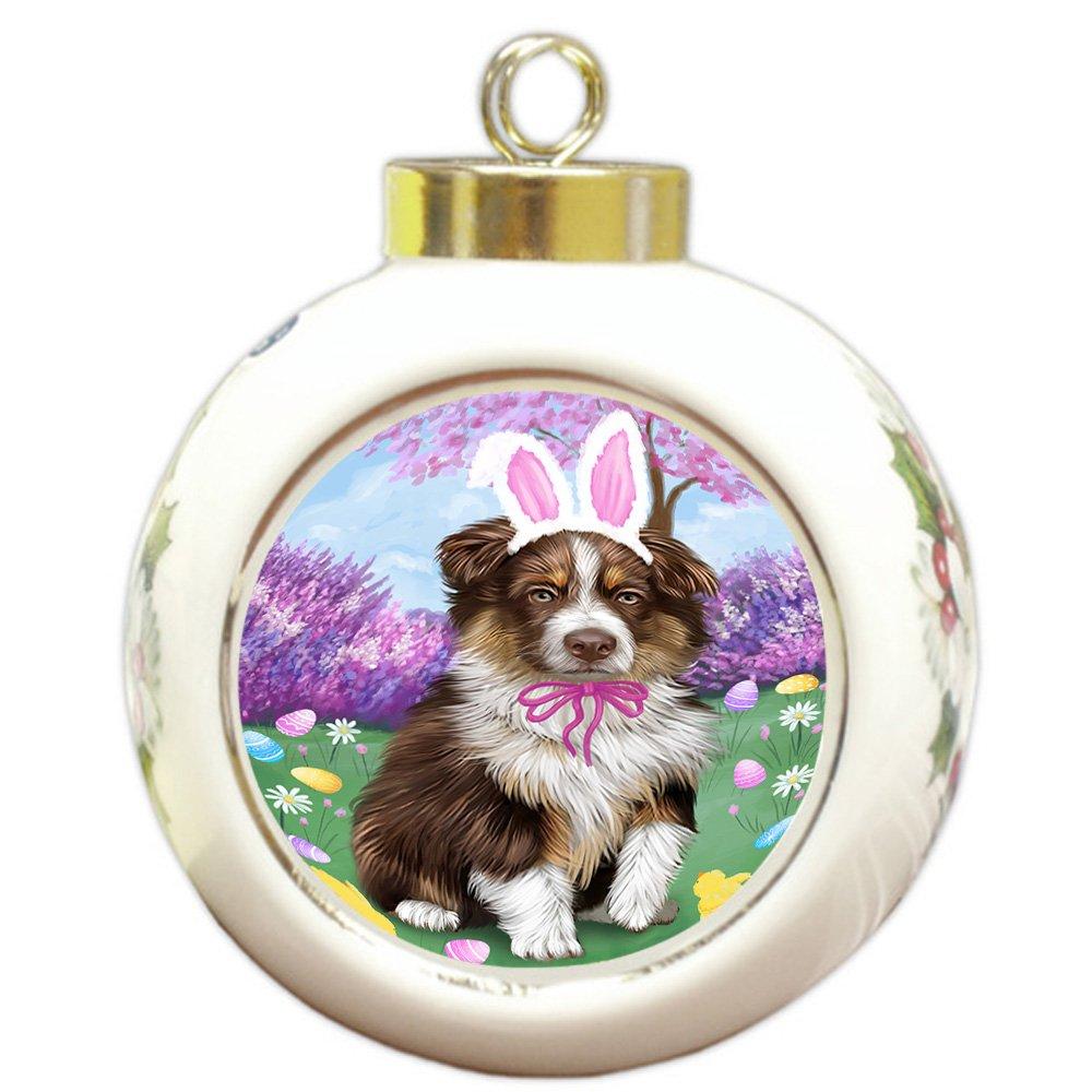 Australian Shepherd Christmas Ornament.Amazon Com Australian Shepherd Dog Easter Holiday Round