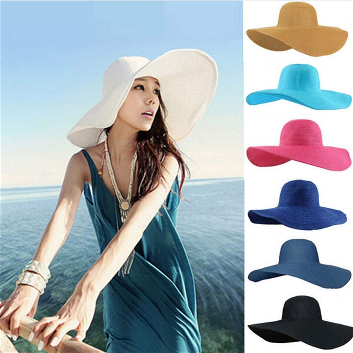 KSDJSA Women Foldable Wide Large Brim Floppy Beach Hat Sun Straw Hat Cap Sunhats