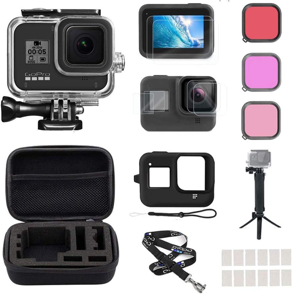 ملحقات InBestOne لـ GoPro Hero 8 مع حافظة مقاومة للماء + حقيبة سفر صغيرة + عصا سيلفي 3 طرق + حبل قصير للعنق + واقي شاشة + غطاء عدسة + فلتر + حشو مضاد للضباب