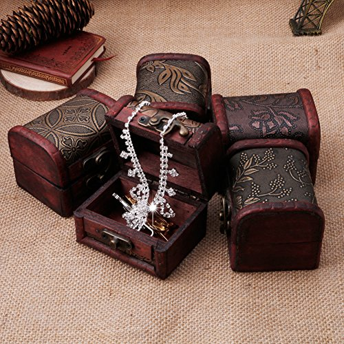 Stebcece Vintage Jewelry Pearl Necklace Bracelet Storage Holder Lock Wooden Case Gift Box
